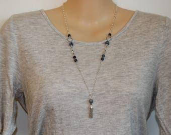 Blue Aventurine Chain Tassel Necklace