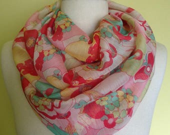 Sheer Floral Infinity Scarf - Pink