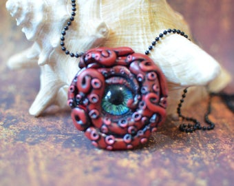 Ctchulhu, Octopus necklace, Steampunk, Squid, Red and Black Polymer Clay Octopus Necklace with blue and green glass eye