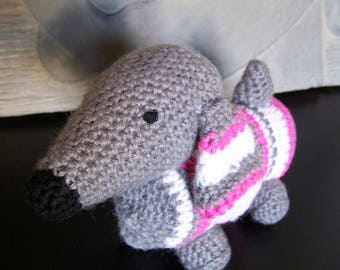 Cute stuffed dog Dachshund made in crochet