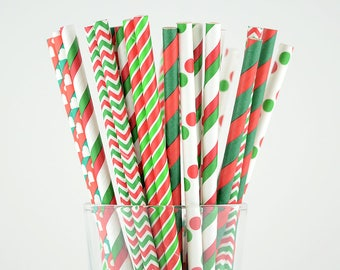Red/Green Mix Christmas Paper Straws - Party Decor Supply - Cake Pop Sticks - Party Favor