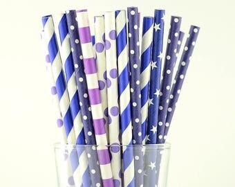 Blue/Purple Mix Paper Straws - Party Decor Supply - Cake Pop Sticks - Party Favor