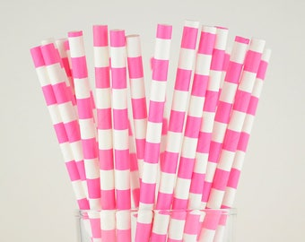 Hot Pink Circle Paper Straws - Mason Jar Straws - Party Decor Supply - Cake Pop Sticks - Party Favor