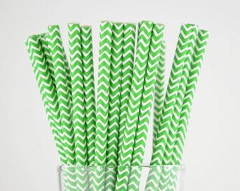 Green Chevron Paper Straws - Mason Jar Straws - Party Decor Supply - Cake Pop Sticks - Party Favor