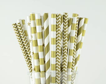 Gold Paper Straws - Stars/ Circle/ Striped/ Chevron - Party Decor Supply - Cake Pop Sticks - Party Favor