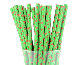 Red Triangle Green Paper Straws - Mason Jar Straws - Party Decor Supply - Cake Pop Sticks - Party Favor