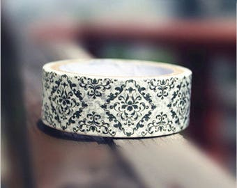 Black Floral Washi Tape 1 Roll - 18mm x 5m - Gift Wrapping - Decorative Tape - Scrapbooking Sticker