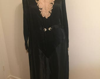 Late 1920's Early 1930's Black Satin and Lace Dress