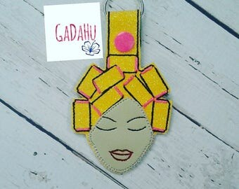 Woman with curlers Key Fob Snap Tab Embroidery Design 4X4 size