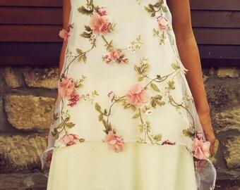 Women's tunic. Cotton Asymmetrical top. Tunic with 3D organza. Asymmetrical tunic. Fashion tunic. Elegance party top. Chiffon Floral tunic.