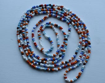 Colour Seed Bead Necklace, Long Colour Seed Bead Necklace, Colour Layering Necklaces, Colour Bead Necklaces, Colour Necklaces