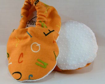 "4"" Soft-Soled Baby Shoes - Orange A is for Alligator Alphabet  - Adjustable Ankles - Non-Slip Soles"