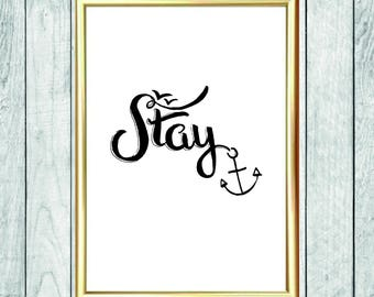 Slogan posters, black white, ahoy, handlettering, personalized, calligraphy, calligraphy, print, beachfeeling