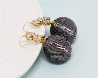 Metallic Ball Drop Earrings