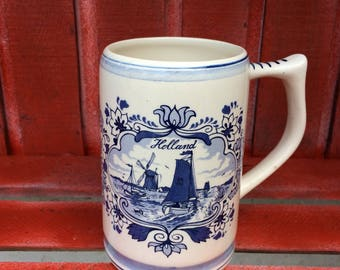 DELFTWARE Blue And White Dutch Pottery Mug, Jug,  Tankered from Holland