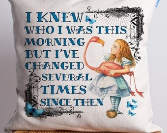 Alice in Wonderland Cushion | Vintage Mad Hatter | I knew who I was Quote | Cheshire Cat | Present Gift AW02