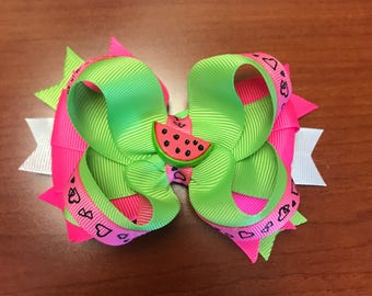 Watermelon stacked hairbow