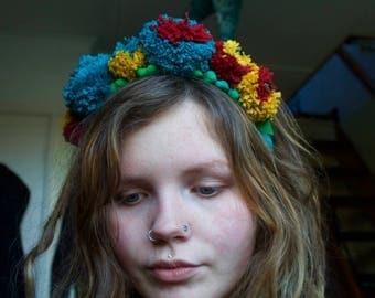 Summer garden pompom head crown