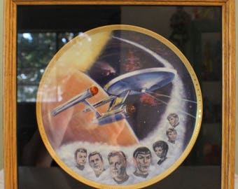 1983 Star Trek USS Enterprise and NC1701 Crew / Framed Decorative Plate / William Shatner James T Kirk / Spock