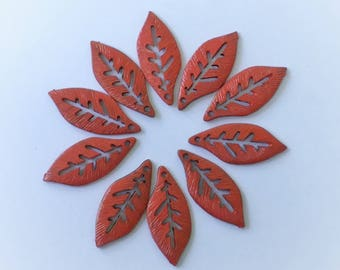 10 Hand Painted Red Leaf  Charms 25 x 5mm