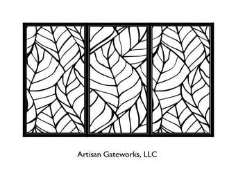 Decorative Steel Driveway Gate - Leaf - Metal Wall Art - Handmade - Artistic Room Divider - Fence Panel