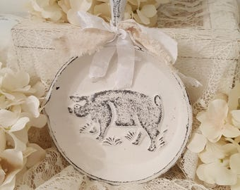 French Country Decorative Skillet - Pig