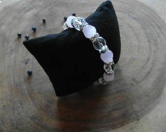 Silver plated bracelet and faceted beads