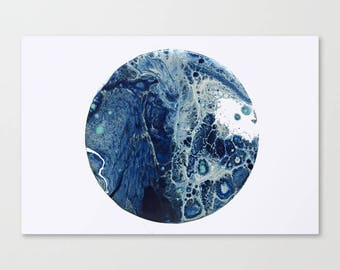 Original Abstract Wall Art Print, A2, A1, Home Decor, Interior, Blue Moon