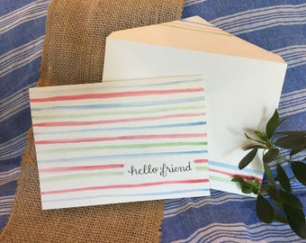 "Greeting Card and Envelope - Striped ""Hello Friend"""
