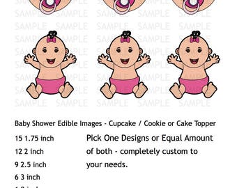 Girl Baby Shower Icing Sheet Edible Image Cupcake or Cookie Topper