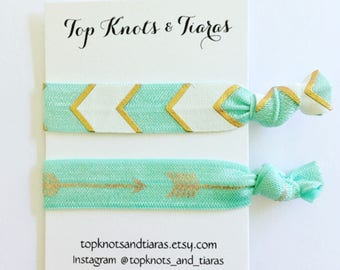 Elastic Hair Ties / Set of 2 / Chevron / Arrows
