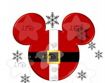 Mickey Snowflakes Santa Head Iron On Transfer
