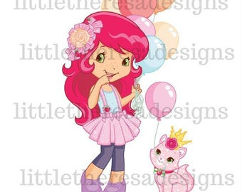 Strawberry Shortcake Birthday Princess Transfer,Digital Transfer,Digital Iron On, Diy
