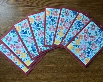 Set of 8 Flowery Greeting Cards with Envelopes
