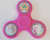Rainbow & Unicorn Spinner  - Pink Spinner- Pink Custom Fidget Spinner