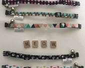 Cat Collar - Breakaway buckle with Bell - multiple fabric choices - FREE SHIPPING