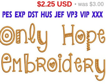 Sale 25% Only Hope Embroidery Font / Only Hope Font embroidery design/ INSTANT download