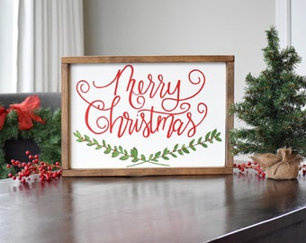 Merry Christmas Wood Sign, Christmas Sign, Farmhouse Christmas Decor, Christmas Wall Decor, Christmas Mantle, Holiday Decor, Seasonal Decor