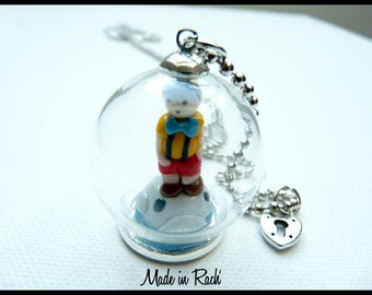 Pinocchio in its glass globe pendant necklace