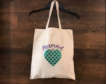Mermaid at heart tote bag