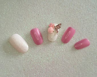 READY TO SHIP * Pink & White Butterfly Press On Nails * Fale Nails * False Nails