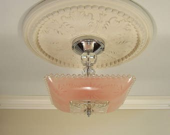 Vintage Art Deco Flush Mount Ceiling Light Fixture Chandelier with Pink Shade
