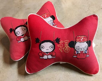 Red, Bone Shaped, Japanese Pillows