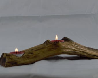 Handmade unique home decor natural  rustic driftwood  tea light candle holder