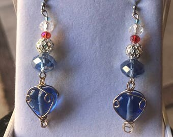 Wire Wrapped Heart Shaped Blue Drop and Dangle Earrings