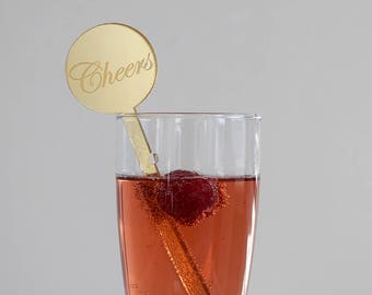 Mirrored Acrylic Drink Stirrers - Cheers  | Set of 6 | Parties | Events | Holidays | Wedding | Engagement | New Years | Decor | Laser Cut