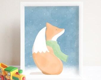 Fox with a scarf illustration art printable home decor / Illustration Renard écharpe verte et neige decor chamber enfant et bébé imprimable