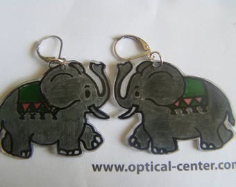 elephants shrink plastic earrings