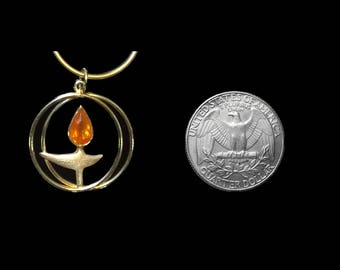 14K Gold UU Chalice Pendant with Opal Flame