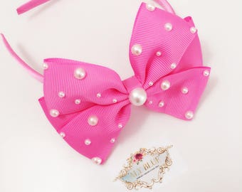 Hot pink and Peach Pink HeadBand with Pearls Handmade